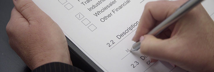 KYC form being filled out